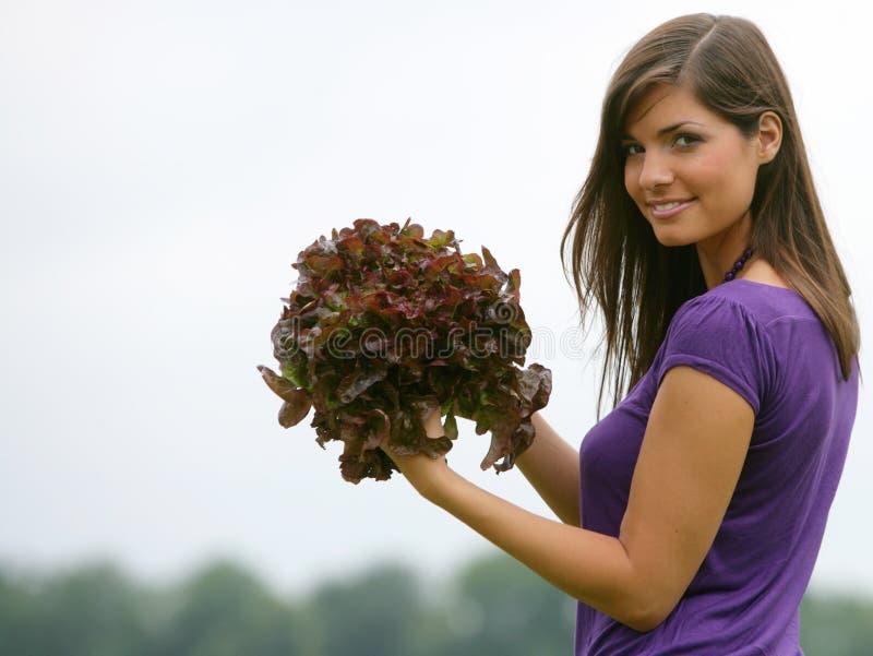 selezionamento della donna rossa dell'insalata immagini stock libere da diritti