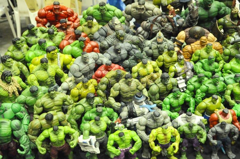 Selezionato ha messo a fuoco delle action figure del carattere di Hulk dalla meraviglia comica immagine stock