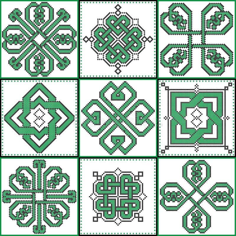 Selezione decorativa senza fine celtica dei nodi nei modelli trasversali neri e verdi del punto 9 nella forma della piastrella di illustrazione di stock