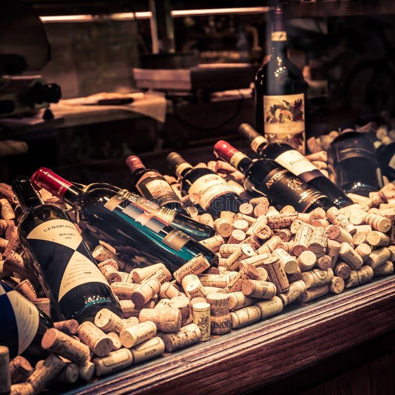 Selezione dei vini di Toscano del locale fotografia stock libera da diritti
