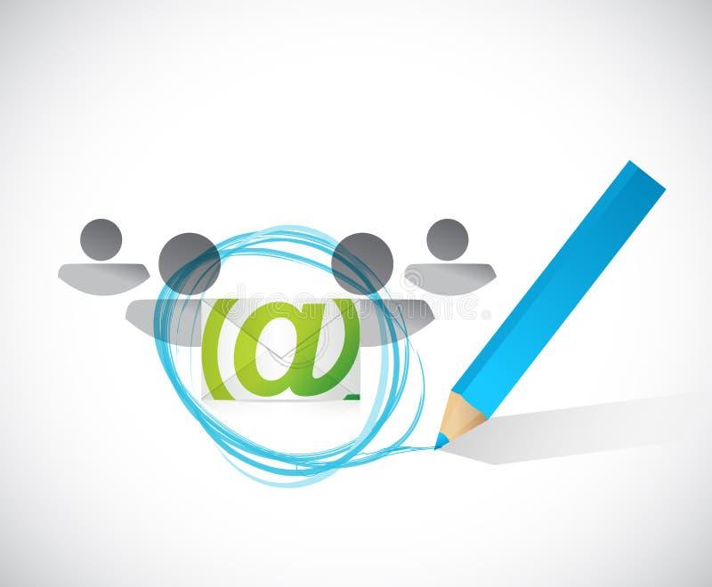 selezione della gente della corrispondenza del email illustrazione vettoriale