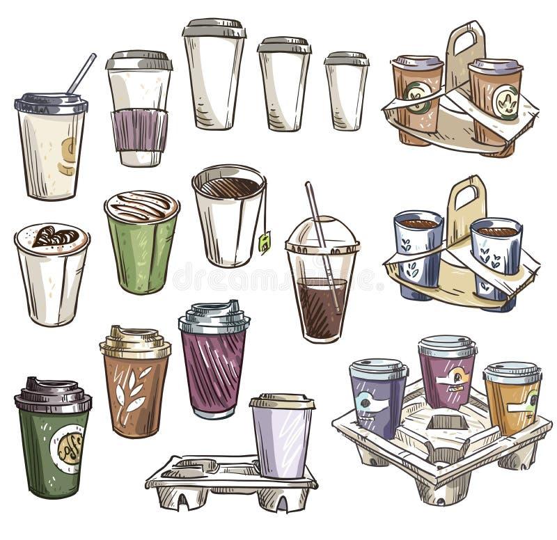 Selezione delle tazze del caffè e dei vassoi asportabili del trasportatore royalty illustrazione gratis