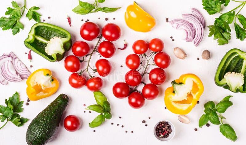 Selezione delle verdure organiche fresche Alimento sano o concetto di dieta fotografia stock