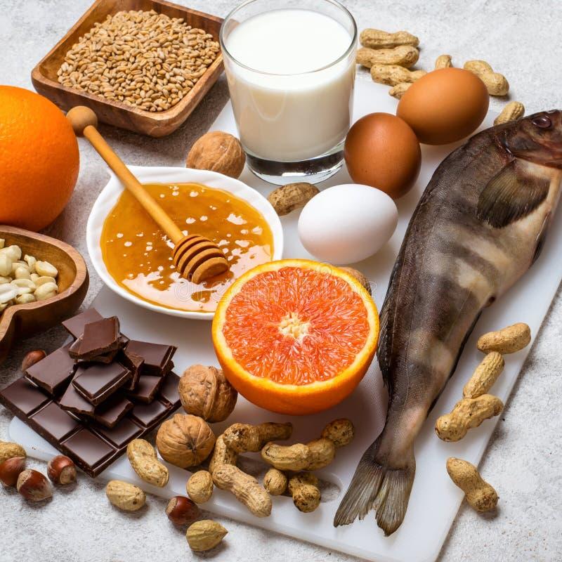 Selezione di alimento allergico Concetto dell'alimento di allergia fotografia stock