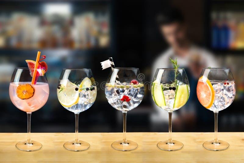 Selezione di gin e di tonico immagini stock libere da diritti