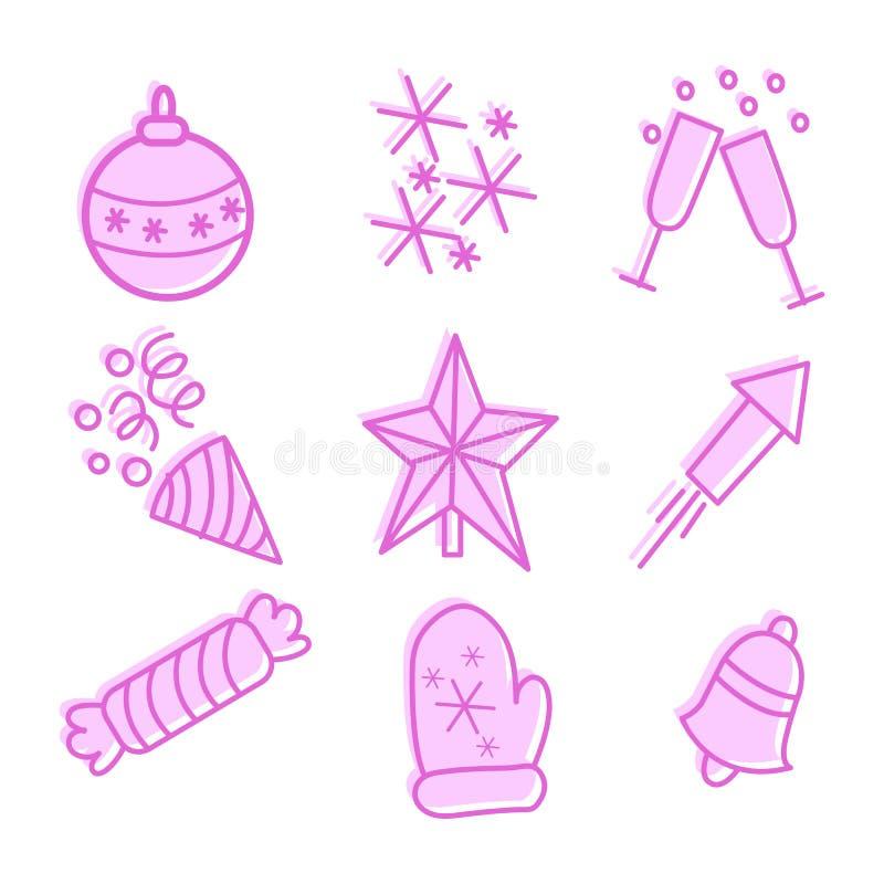 Selezione di nuovo anno e simboli di Natale, simboli lineari per i manifesti, insegne e cartoline, vettore illustrazione vettoriale