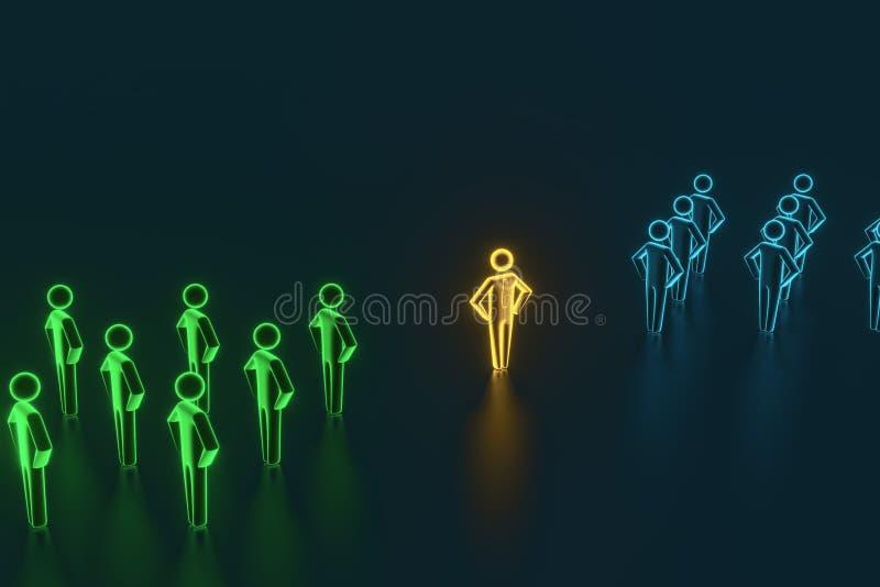 Selezione e ricerca di un impiegato o di un cliente superiore rappresentazione 3d illustrazione di stock