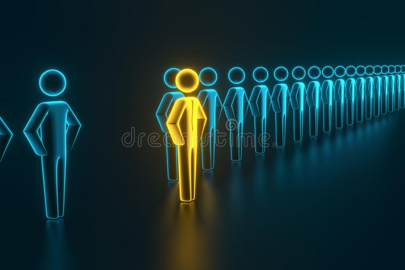 Selezione e ricerca di un impiegato o di un cliente superiore rappresentazione 3d illustrazione vettoriale