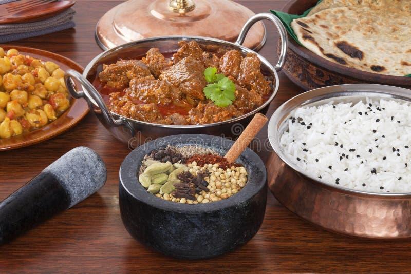 Selezione indiana della spezia del curry di Rogan Josh dell'agnello dell'alimento fotografia stock