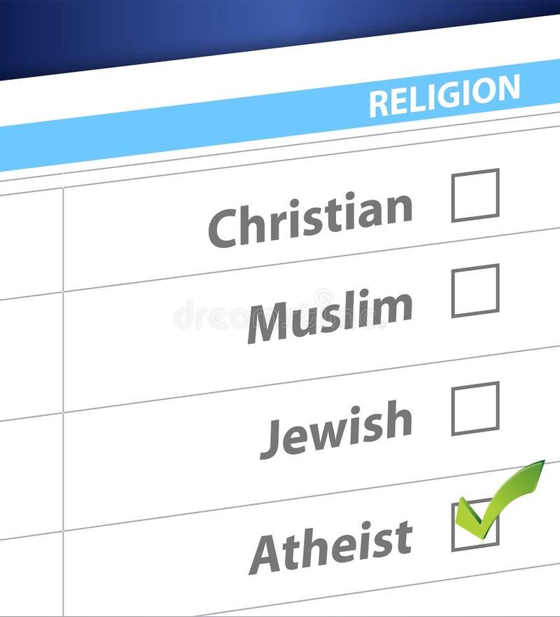Selezioni la vostra illustrazione blu di indagine di religione illustrazione di stock