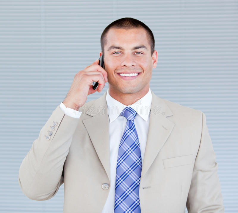 Download Self-assured Businessman Talking On Phone Stock Photo - Image: 13889136