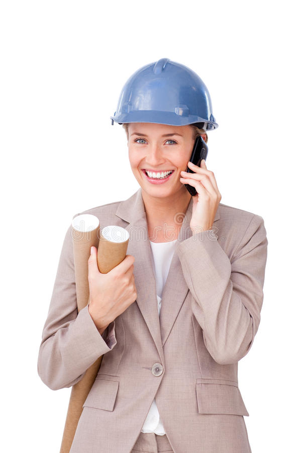 Self-assured Female Architect On Phone Standing Stock Images