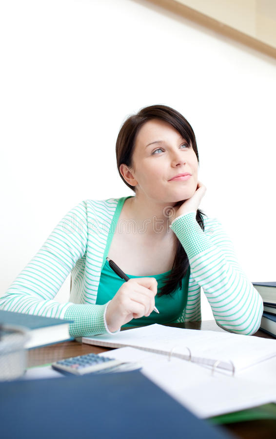 Download Self-assured Teen Girl Studying At Her Desk Stock Image - Image: 13861241