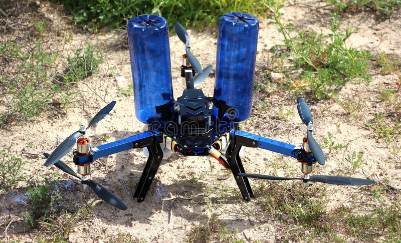 Self build hexacopter for aerial seeding royalty free stock photo
