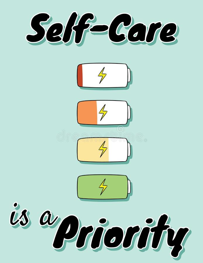 Self-care is a priority. Charge your inner battery. Motivational cute cartoon postcard stock illustration