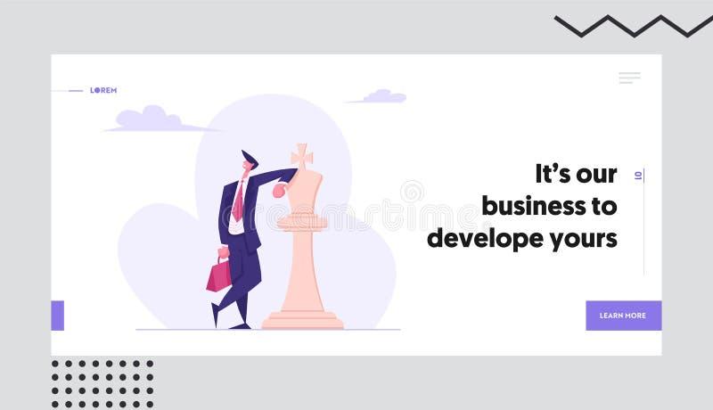 Self Confident Businessman Leaning on White Chess King Figure. Business Success, Leadership Metaphor, Strategic Thinking vector illustration