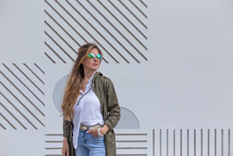 Self-confident female in urban environment stock image