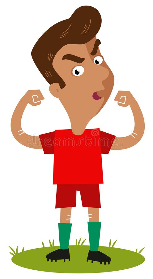 Self-confident, proudly standing South American Cartoon soccer player wearing red shirt showing off his strength royalty free illustration