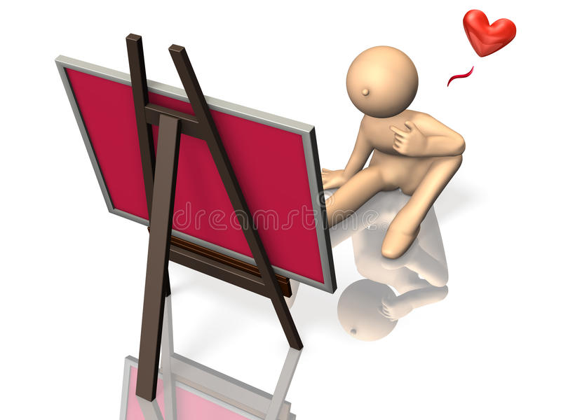 He Is Self Congratulation In Front Of The Work. Royalty Free Stock Photo