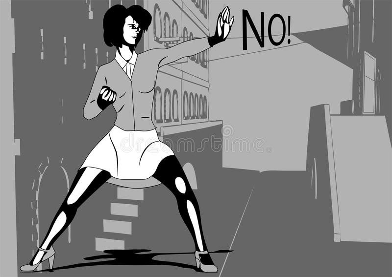 Self defense. Woman in a dark lane royalty free illustration