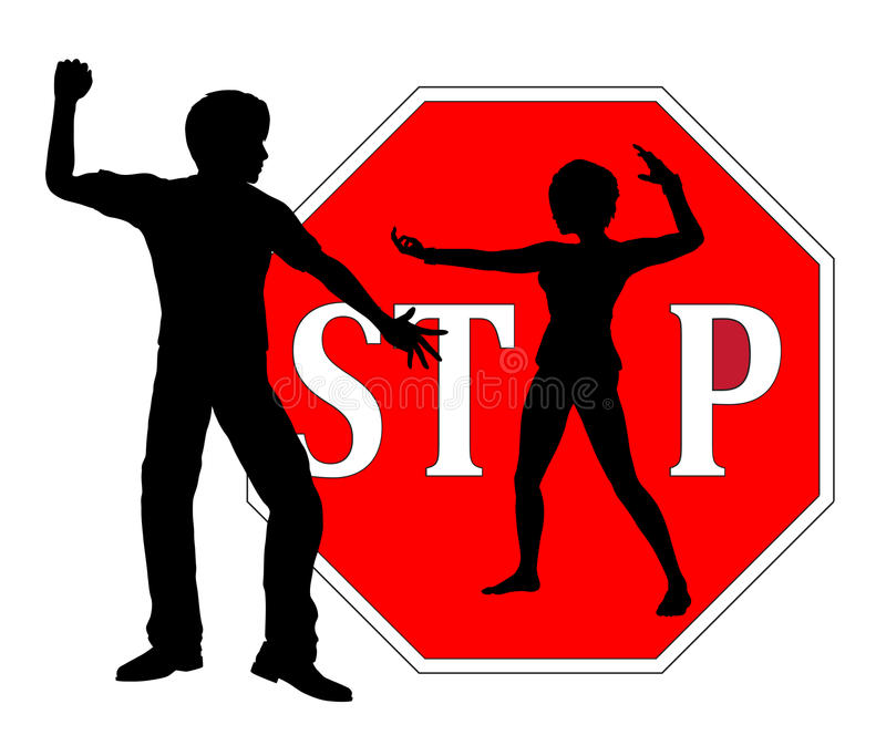 Self Defense for Women. Woman who is defending herself as concept sign to stop harassment and violence against females stock illustration