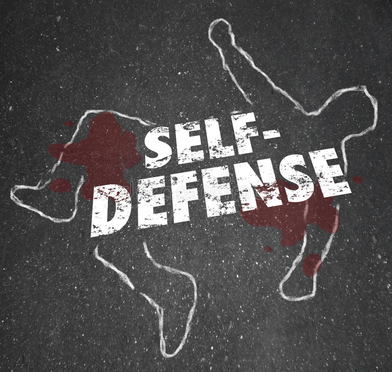 Self Defense Words Chalk Outline Body Defending Yourself Attack. Self Defense words on a chalk outline of a dead body or victim to illustrate the need to defend royalty free illustration