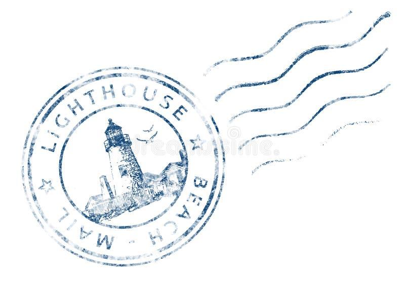 Stamp Lighthouse Beach Mail (Grunge design) stock illustration