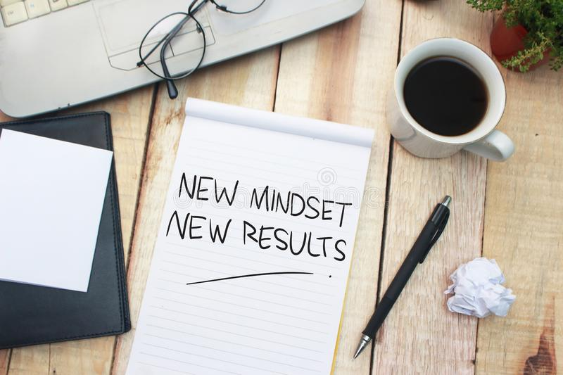 Self Development Motivational Words Quotes Concept, New Mindset Result. New mindset new results words letter, motivational self development business typography royalty free stock photos