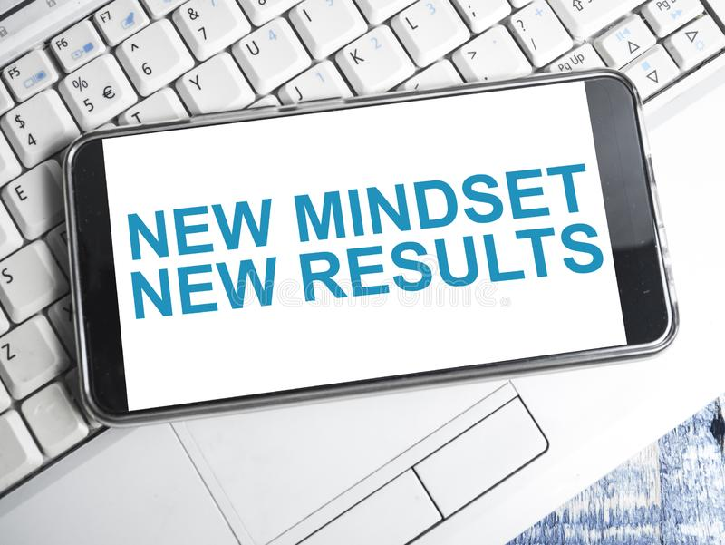 Self Development Motivational Words Quotes Concept, New Mindset Result. New mindset new results words letter, motivational self development business typography royalty free stock photography
