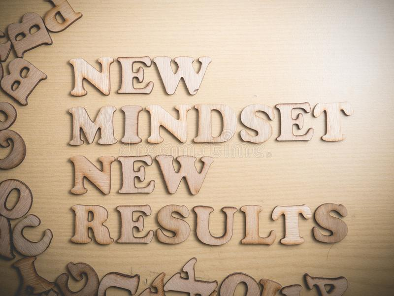 Self Development Motivational Words Quotes Concept, New Mindset. New mindset new results wooden words letter, motivational self development business typography stock image