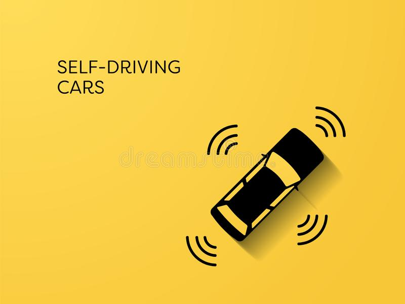 Self-driving autonomous future intelligent smart car vector concept. Symbol of transportation technology, automatisation royalty free illustration