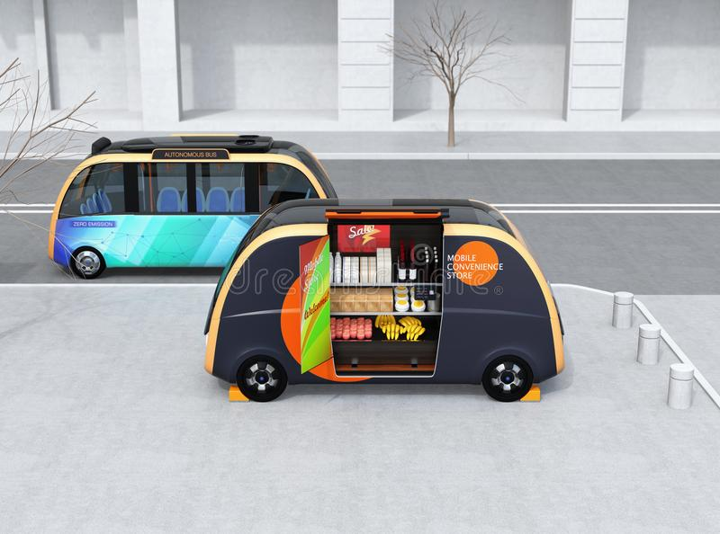 Self-driving bus passing a vending car on the street. The vending car is equipped with shelf for selling foods, drinks and grocery. Mobile convenience store stock illustration