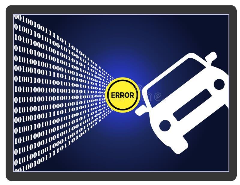 Self-Driving Car Error stock illustration. Illustration of accident ...