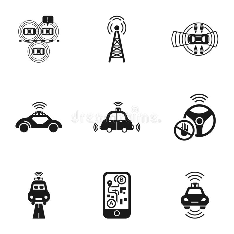 Self driving car icon set, simple style vector illustration