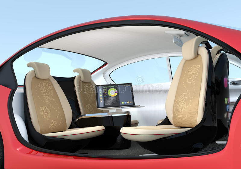 Self-driving car interior concept. Driver seats could turned to rear side, people can have short meeting while they on the way. 3D rendering image with royalty free illustration