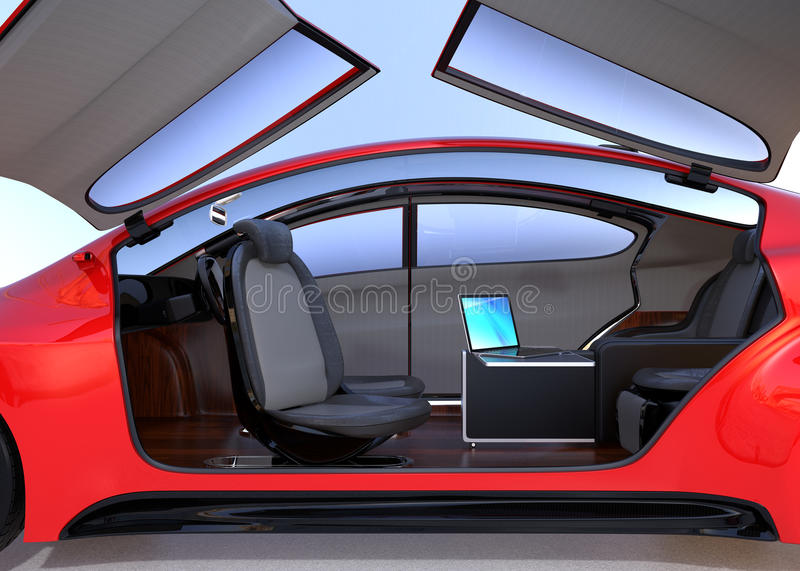 Self driving car interior concept stock illustration