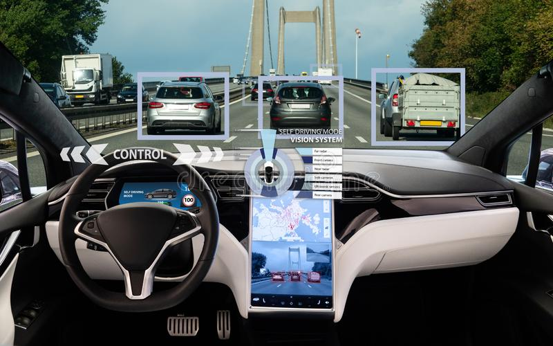 Self driving car on a road. Autonomous vehicle. Inside view stock photography