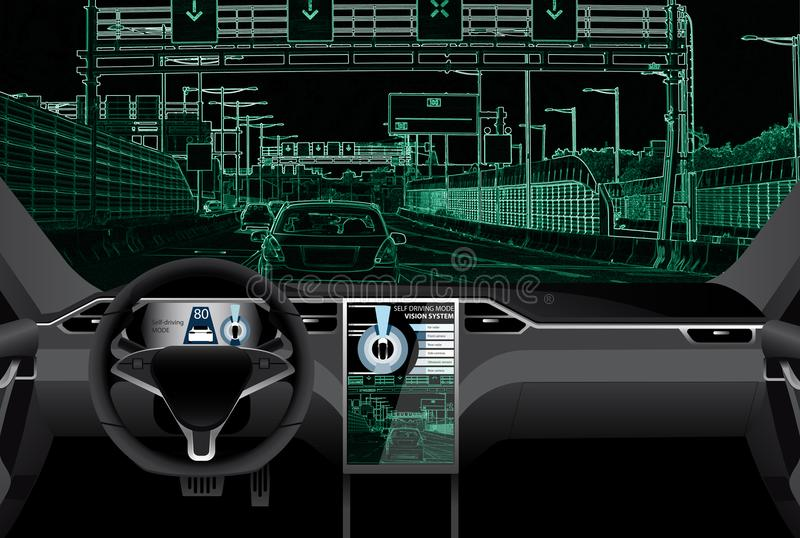 Self driving car on a road. Vision of the robot vector illustration