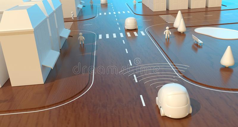 Self-driving cars - 3D Animation vector illustration