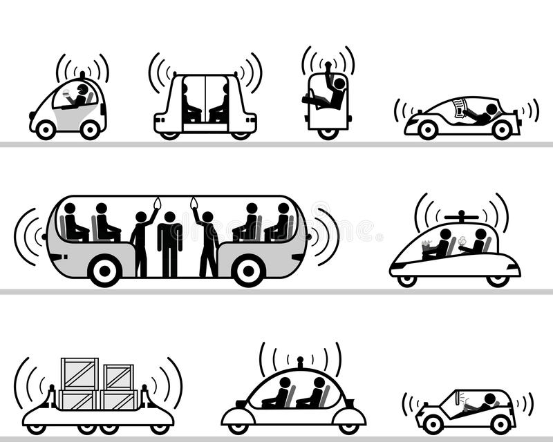 Self-driving cars pictogram collection royalty free illustration