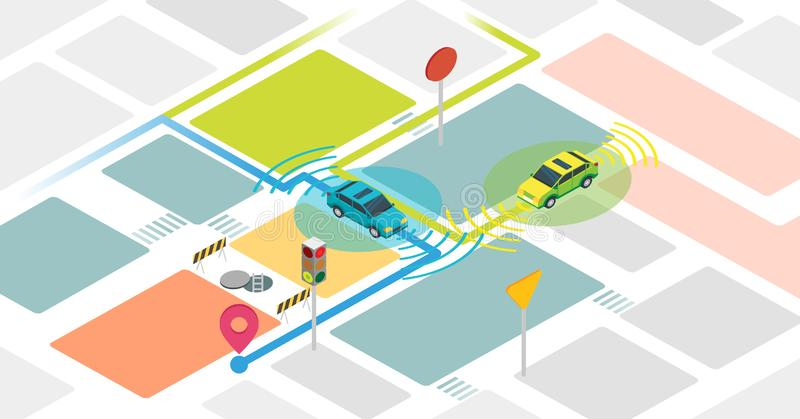 Self driving cars vector illustration. Example with self driving vehicles. stock illustration