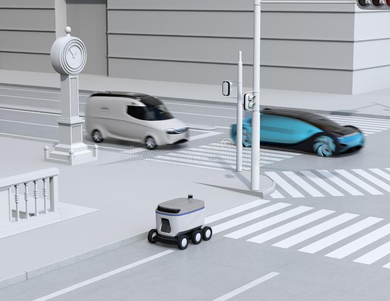 Self-driving delivery robot moving on the roadside. Delivery minivan and self-driving sedan passing the crossroad. 3D rendering image royalty free illustration