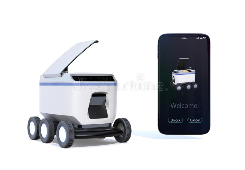 Self-driving delivery robot with top cover opened for pickup parcel. Smartphone on the right side showing delivery apps. 3D rendering image vector illustration
