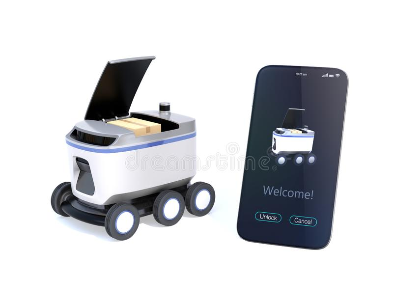Self-driving delivery robot with top cover opened for pickup parcel. Smartphone on the right side showing delivery apps. 3D rendering image stock illustration