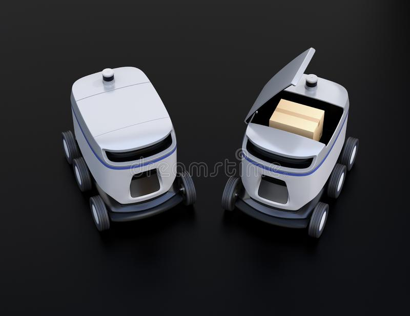 Self-driving delivery robots on black background. One`s cover opened for picking parcels. 3D rendering image royalty free illustration