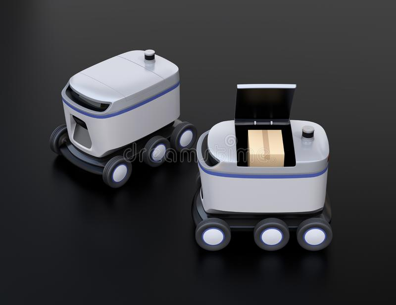 Self-driving delivery robots on black background. One`s cover opened for picking parcels vector illustration