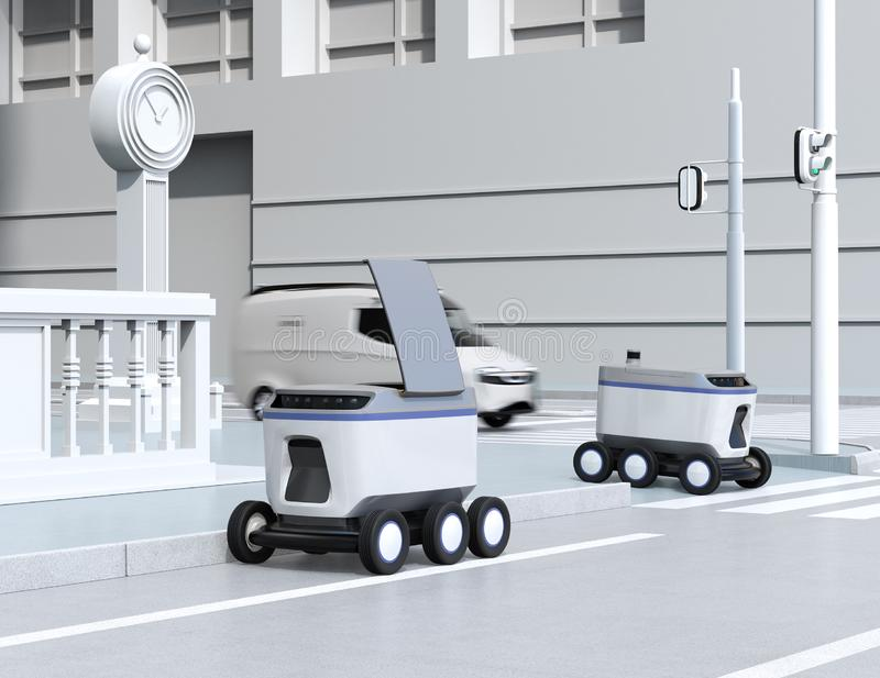 Self-driving delivery robots moving on the street. 3D rendering image vector illustration