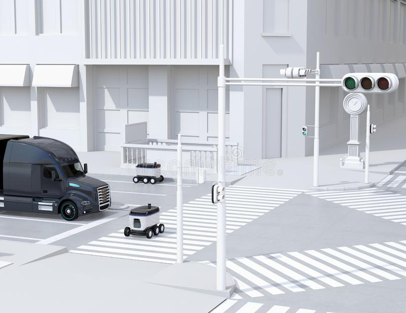 Self-driving delivery robots on the street. One crossing the road with a pedestrian crossing. 3D rendering image vector illustration