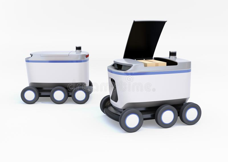 Self-driving delivery robots on white background. One`s cover opened for picking parcels. 3D rendering image royalty free illustration