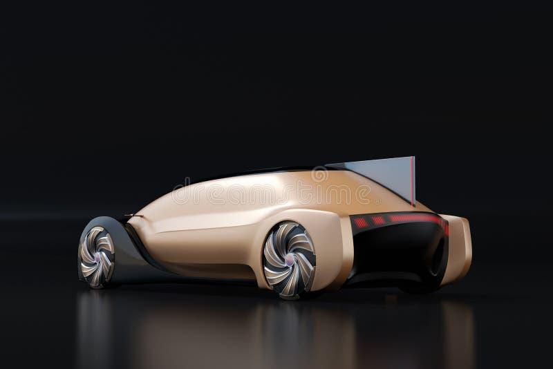 Self driving electric car on black background vector illustration